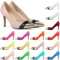 Hot Sale-Sapatos Feminino Apontou Toe Patenteado Pu Saltos De Couro Estilo Corset Trabalho Bombas Sapatos Tribunal