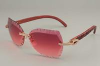 2019 جديد الموضة الراقية منحوتة نظارات إطار 8300817-A2 سلسلة الماس منحوتة باليد نمط الخشب / أسود نظارات إطارات الخشب ، 58-18-135mm