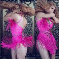 7 Renk Pırıltılı Yapay elmas Püskül Bodysuit Nightclub Dans DS göster Sahne Stretch Parti Kıyafet Kadın Şarkıcı Dansçı Kostüm Wear