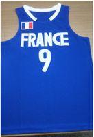 토니 파커 # 9 프랑스 국가 대표 레트로 농구 저지 남자 스티치 사용자 정의 모든 번호 이름 유니폼