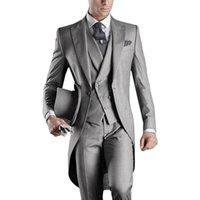 Three Piece Grey Evening Party Men Suits Peak Lapel Trim Fit Custom Made Wedding Tuxedos (Jacket + Pants + Vest+Tie)W:391