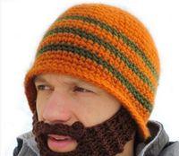 Зима ручной работы крючком съемные усы бородатые трикотажные теплая маска шляпа лыжная шапка смешные шапочки подарок CNY794