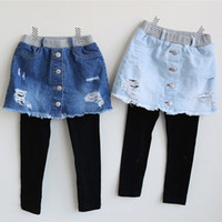 Detaljhandel tjejer denim kjolar leggings falska två sweatpants byxor tights barn designer svett byxor barn boutique kläder