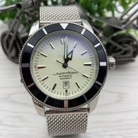 Дата серии Heritag Date Мужские часы 47 мм Большой белый циферблат Caliber 20 автоматический индекс движения часы из нержавеющей стали сетки браслет наручные часы