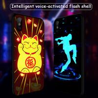 Para iphone xs xr phone case nova light-emitting vidro temperado telefone móvel case anti-queda proteção capa suporte 2 pcs entrega