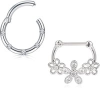 Övriga 16g SeptA Clasp Nose Ring Hoop Ear Cap Spiral brosk Pierced örhängen Läpp Septum Smycken Män och kvinnor