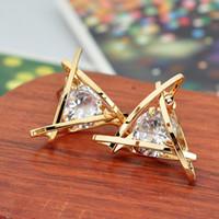 Треугольник 925 стерлингового серебра Алмазные серьги Pandora ювелирных изделий золото розовое золото покрыло серьги стержня Женщины серьги