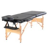 WACO 2-Piega Massage Table Bed Spa, Mobili per la bellezza del viso, Viso Culla Arms Regolabile Regolabile Legno Portatile Imbottito impermeabile Resistente resistente all'acqua Nero