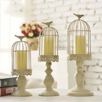 Européenne Candlestick Cube Kiosque Bougeoirs blanc creux Bird Cage Bougeoir Sculpté mariage Bougeoirs Décoration intérieure