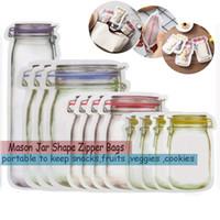 Portable Mason Jar Zipper Sacs De Réutilisation Snack Saver Sac Anti-Fuite Alimentaire Sandwich De Stockage Sacs Bon pour Le Voyage