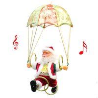 Électrique du Père Noël Jouet suspendu Rotation Parachute Tourner cadeau musical Pendant Noël pour enfants Toy Party Supplies New BC VT1190