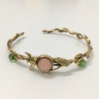 2019 Brass material opened punk bangle with green and pink b...