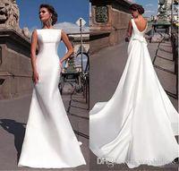 2018 Nouvelle sirène Robes de Mariée avec Simple satin amovible train Backless Robes de mariée Custom Made robe de mariée