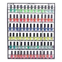 와코 6 계층 다기능 메이크업 화장품 디스플레이, 살롱 가구 매니큐어 선반 100 병, 벽 마운트, 홀더 보관함 (블랙)