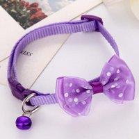 20pcs / lot chiot mode réglable cravate mignon de chat de chien Collier pour chien en nylon de Bell Kitten Bonbons Couleur Bow Tie bowknot Likesome