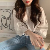 Korean elegante Blumendruck Frauenbluse Vintage-Laterne Ärmel weiß süße Damen Shirts Beiläufige femme Tops modis Spitze