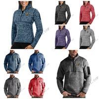 2020 Vegas Cavaleiros de Ouro Antigua Mens Womens Fortune Half-Zip Camisola Pullover Jackets- Heather Navy Preto Cinza Real