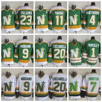 Mens Womens Youth Minnesota North Stars Maglie 9 Mike Modano 1 Gump Worsley 20 Dino Ciccarelli 4 Craig Hartsburg 11 JP PARISE Maglie