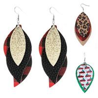Natal estilo europeu venda quente menina doughrop acessórios presentes pu couro jóias multi-andar impressão pingente penas borlas brincos