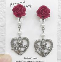 jóias estilo barroco brincos flores do parafuso prisioneiro do coração pingente de pérola brincos tassle para mulheres clássicas da moda quente graciosa