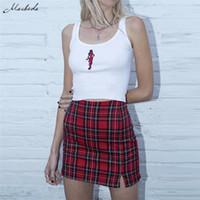 Damen sportlich Rock Plaid dünne hohe Taille Reißverschluss Paket-Hüfte-Art und Weise Damen reizvoller Minibleistiftrock Frühlings-Sommer-Knopf-Kurzschluss-Minirock