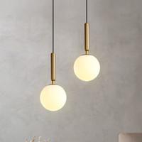 Lampada di pendente moderna di lusso Oro Vetro paralume della sfera di appendere le luci Lampade per pranzo Camera da letto illuminazione della decorazione