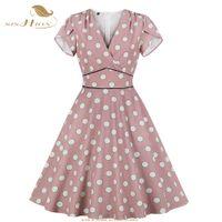 SISHION verano de las mujeres vestido de manga corta de los lunares Rosa femme informal vendimia vestido túnica VD1087