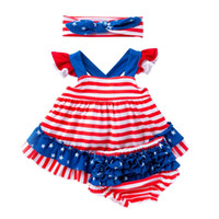 4th of july Baby clothing set independence Day suspender ski...