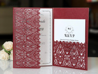 Laser Cut Wedding Invitations With RSVP Cards Burgundy Custo...