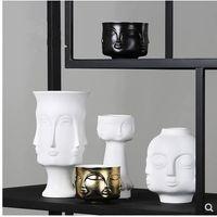 Vaso de cerâmica modelo de cara, criativa arte nórdica artesanato, decoração de mesa em casa, flores modernas