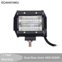 ECAHAYAKU 1x LED 48W 작업 램프 4 인치 라이트 바 12V 홍수 빔 4x4 오프로드 ATV 트럭 보트 자동차 스타일링 안개 램프