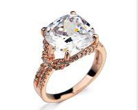 Esclusivo! Oro rosa 18 carati placcato Cushion Cut 6CT svizzero di diamante della CZ con il dito doppio pavimenta Banda Anelli Donne (Jingjing JR018)