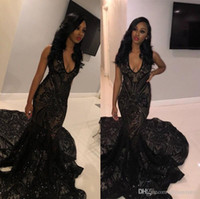Sexy Black Mermaid Long Prom Dresses 2019 New Sleeveless Swe...