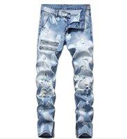 de homens Ripped Skinny jeans stretch afligido Destruído Zipper Denim Pants New Projeto azul masculino Demin Jeans