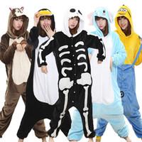 Cráneo Kigurumi Onesie Adulto Mujeres Scary esqueleto caliente pijama de franela suave flojo ropa de noche de invierno Onepiece Mono Cosplay