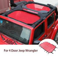 Auto Sunshade Net Protection Rete per Jeep Wrangler JK 4 Doors 2007-2017 Accessori per esterni automatici (rosso)