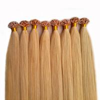 Schwarz, Braun, Blond Inder Remy Menschenhaar-Verlängerungen Prebonded italienische Keratin-Haar-Flach Spitze U Spitze Fusion 100 s / pcs 50g 70g 100g