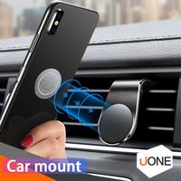 Suporte do suporte do telefone do carro magnético para o iPhone Samsung Huawei L-Type Air Vent Mobile para o telefone Universal com pacote de varejo