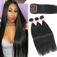 Silk Straight Brazilian Virgin Hair Bundles With 4x4 Lace Cl...