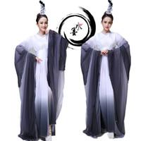 Nieuwe Collectie Inkt Stijl Vrouwelijke Klassieke Stage Dragen Yangko Dancing Dress Traditional Fan Dance Clothes Oude Kostuum Chinese Folk Dance