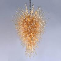 Художественный дизайн подвесной светильник янтарный потолочный светильник ручной работы взорванные цветные стеклянные люстры ремесел освещает большой цветок подвесной свет