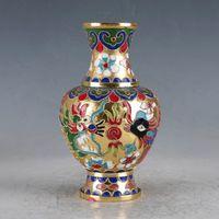 Collection Folk Art Vintage Rare old Chinese Cloisonne Vase Hand-carved Dragon & Phoenix Vases