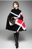 Nouveau 2019 Mode Femmes Cape Hiver Veste Motif Géométrique Manches Chauve-Souris Laine Manteau Chaud Ponchos Cape Manteau De Laine Mélanges Femmes Vêtements de Dessus