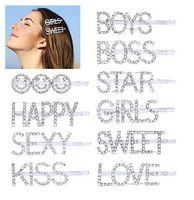 Carta pinzas para el cabello para niñas de las mujeres 10 unids, moda dulce palabra pasadores para el cabello pasadores Crystal Bobby Pins, Bling decorativo hecho a mano de lujo