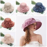 Nouveau style chapeau coréen pare-soleil côté fleur large chapeau bord femmes d'été soleil plage chapeau pliant crème solaire fête chapeaux T9I00327