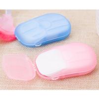 20PCS / caja desechable contra el polvo de papel mini jabón lava del recorrido de la mano del baño de limpieza en caja portátil que hace espuma de jabón perfumado de papel Hojas FY6022