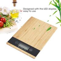 디지털 스케일 멀티 기능 식품 주방 스케일 대나무 LED 디스플레이 전자 주방 음식 규모 요리 도구 무게
