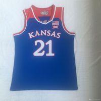 NCAA Kansas Jayhawks # 21 Embiid Koleji Basketbal Üniversitesi Formalar Nakış Gömlek Giyer S-2XL En Kaliteli Ücretsiz Kargo