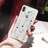 Transparent Glitter Dried Flower Phone Case For Samsung Gala...