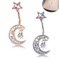 Venta al por mayor 50 unids / lote Moon Star Style ombligo Piercing Studs Titanium Steel Navel Jewellery para salón y piercing suministros